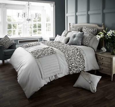 Verina Silver Luxurious Duvet Covers Quilt Cover Bedding Sets /Runners All Sizes