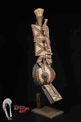 "Gurunsi Bobo Bwa Mask with Custom Stand 36"" - Burkina Faso - African Art"