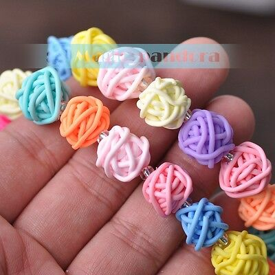 1 Strand 40pcs 14mm Polymer Clay Loose Spacer Beads Findings Mixed Colors