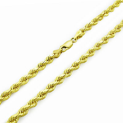 REAL 10k Yellow Gold Italian 3mm Mens Womens Diamond Cut Rope Chain Necklace 22""
