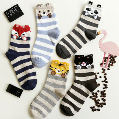 Striped Cute Lovely Cat Fox Tiger Panda Socks Ladies Women Girls Great Quality