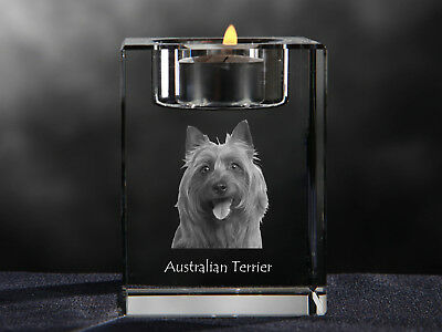 Australian Terrier, crystal candlestick with dog, souvenir, Crystal Animals CA