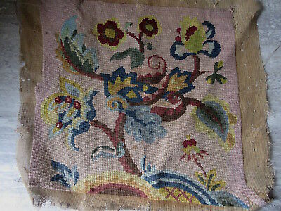 Antique Needlepoint Floral Design Seat Chair Covering