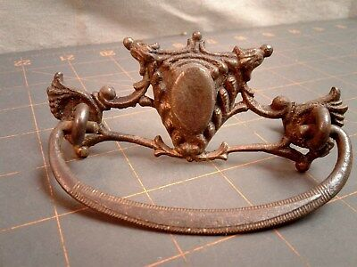 Victorian Fancy Drawer Pull Cast Brass, Steel Bail w Eyelets and Nuts 1930 ERA