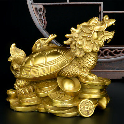 Gold Feng Shui Dragon Turtle Tortoise Statue Figurine Coin Money Wealth Luck