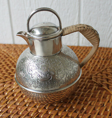 Vintage Silver Plated Epns Teapot W/bamboo Covered Handle Made In England 1 Pint