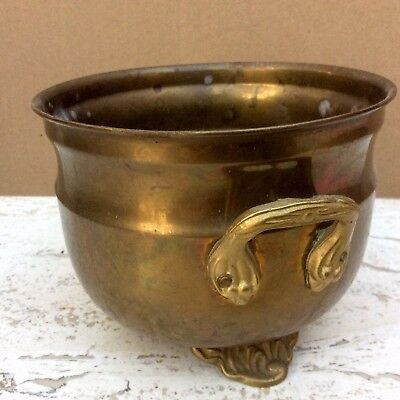 """Vintage brass footed pot planter with handles 4"""" tall"""