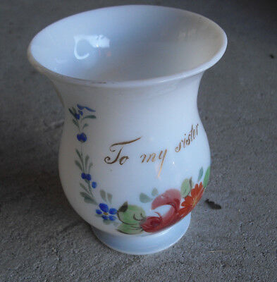 Antique 1880s Blown Opaque White Glass Sister Painted Handled Mug Look