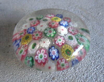Antique Late 1800s Glass Multi Stars Colorful Flat Paperweight