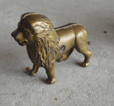 """Antique Cast Iron Lion Penny Bank 3 1/2"""" Tall #2"""
