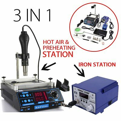 Newest 3 in 1 Soldering Iron Station Hot Air & and Preheating Station USA VV