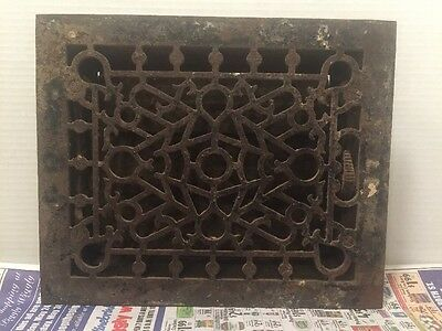 ANTIQUE Floor GRILLE CAST IRON VICTORIAN LOUVERS Grate HEAT VENT REGISTER #2