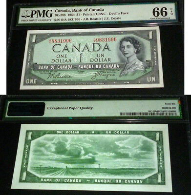 World Famous - Devils Face 1954  Bank Of Canada $1  Gem Uncirculated Pmg 66 Epq