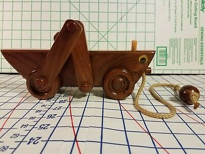 HANDMADE carved antique wooden wood toy toys animal pull string wheels figurine