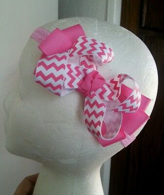 Baby~Girl~Toddler~Chevron~Hot Pink~White~Boutique~Hair~Bow~FOE~Headband