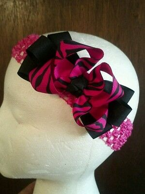 Beautiful~Baby~Girl~Toddler~Hot Pink~Zebra Print~Boutique~Hair~Bow~Headband