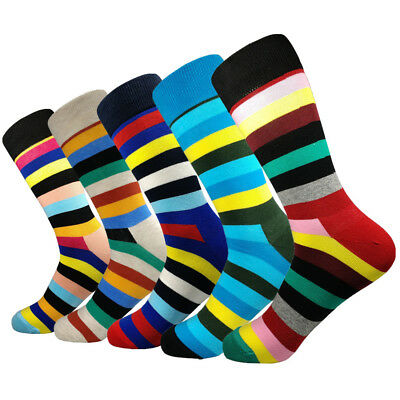 5 Pairs Mens Happy Cotton Socks Lot Fashion Colorful Stripes Casual Long Socks
