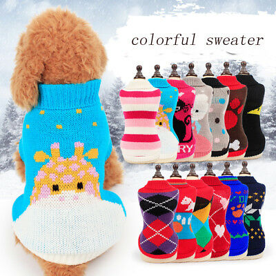 Warm Winter Dog Sweaters Casual Pet Clothes Jacket Coat Outwear Costume Random