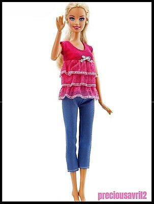New Barbie doll clothes outfit top pants casual clothing 2 piece set.