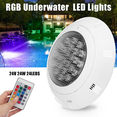 24V 24W RGB Swimming Pool LED Light Lamp Remote Control Underwater Waterproof