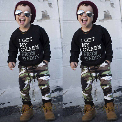 Winter Toddler Kids Baby Boy T Shirt Tops + Camouflage Pants Outfits Clothes Set
