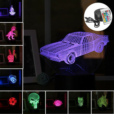 3D LED Night Light Color Change Panel Remote Control Bluetooth Table Desk Lamp