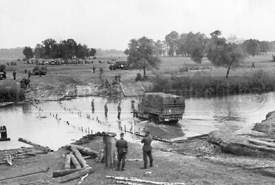 WWII German soldiers Crossing river Truck Invasion of Poland 1939 WW2 photo