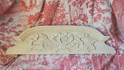 Antique French solid wooden pediment or fronton