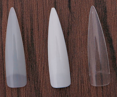 Long Stiletto Nail Tips Natural Clear White - practice display *HK SELLER*
