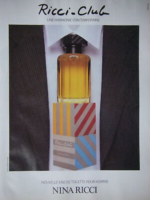 Publicité De Presse 1989 Ricci-Club Eau De Toilette Nina Ricci - Advertising