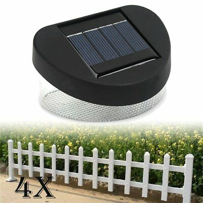 4x 8 LED Outdoor Garden Pathway Lights Wall Solar Power Fence Gutter Light Lamp