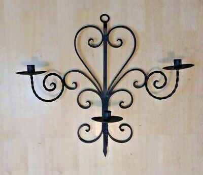 Vintage Wall Hanging Twisted Wrought Iron Candelabra Black Aged Gothic Large