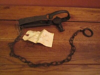 Vintage Antique P.S.&W.CO. No. 1 Metal Animal Trap with Chain