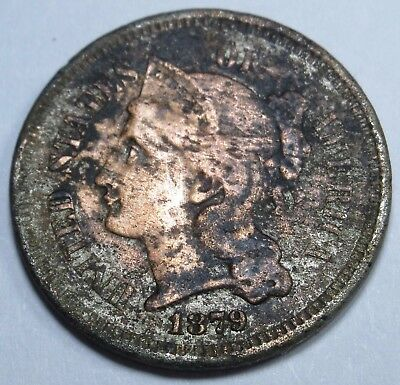 1879 US Three Cent Nickel Piece 3 Penny Old Antique USA Currency Money U.S. Coin