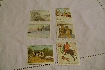 PARAGUAY-(1968)-PAINTING -PARTIAL SET-LOT of 6 STAMPS-MNH