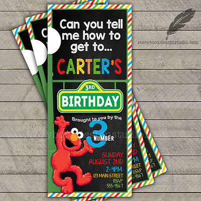 Sesame Street Birthday Party Invitations / elmo abby cadabby big bird PRINTED
