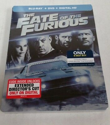 The Fate of the Furious Blu-Ray DVD Exclusive Steelbook NEW SEALED