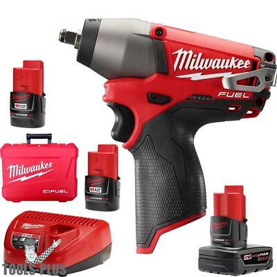 """Milwaukee 2454-22 M12 FUEL 3/8"""" Impact Wrench 3 Battery Kit w/1x 6.0ah New"""