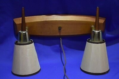 Vintage Mid Century Double Wall Sconce Bullet Lamp Light 3 way