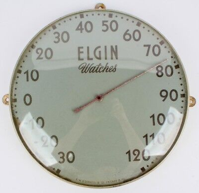 Vintage Elgin Watches Round Tin & Glass 12 Inch Working Advertising Thermometer
