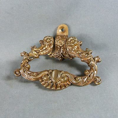 Antique French Solid Bronze Drawer Pull Handle Ornate