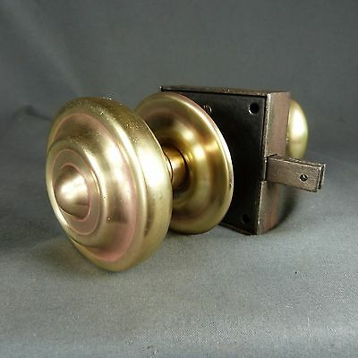 French Antique 19th century Copper Door Lock with Turning Handles from Manor