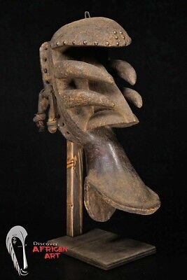 """Bete/Grebo """"Spider"""" Face Mask 19"""" w/ Custom Stand Côte d'Ivoire - African Art"""