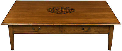 Antique Style Large Rectangle Coffee Table w Deep Drawers Sturdy Wood Inlaid FS!