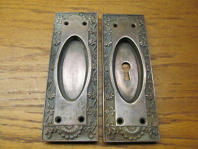 Pair Old Eastlake ?? Bronze ? Brass ? Pocket Door Pulls Escutcheons..nice Ornate