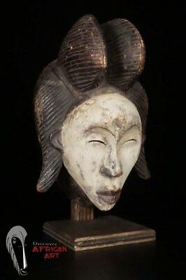 "Elegant Punu Mask 13"" with Custom Stand - Gabon - African Art"