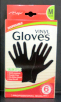 Magic Black Vinyl Glove Size Sm, M, L, Xl 6Pairs For Barber And Beautician