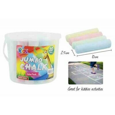 20pce x Jumbo Kids Chalk with Bucket. NON-Toxic. Office Supplies. Back to Schoo
