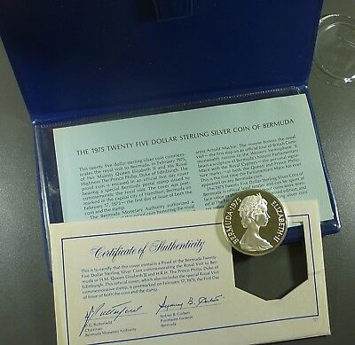 1975 Bermuda $25.00 Silver Proof Royal Visit With COA