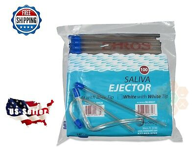 """1000 PC Saliva Ejector CLEAR w/BLUE Tip Bendable Dental Disposable Ehros 6"""""""